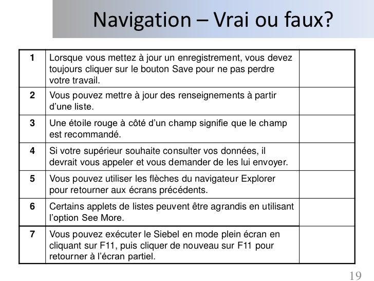 Navigation – Vrai ou faux?1   Lorsque vous mettez à jour un enregistrement, vous devez    toujours cliquer sur le bouton S...