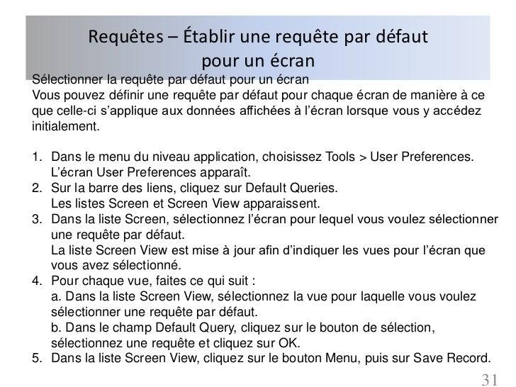 Requêtes – Établir une requête par défaut                      pour un écranSélectionner la requête par défaut pour un écr...