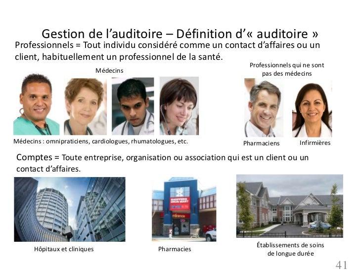Gestion de l'auditoire – Définition d'« auditoire »Professionnels = Tout individu considéré comme un contact d'affaires ou...