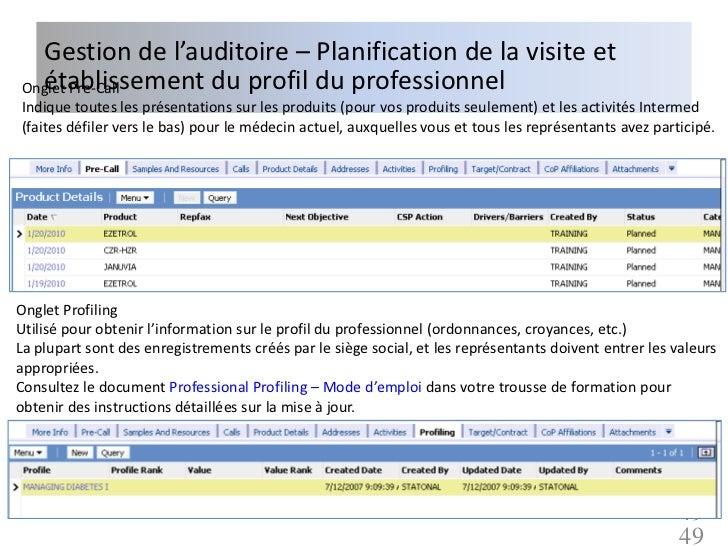 Gestion de l'auditoire – Planification de la visite et  établissement du profil du professionnelOnglet Pre-CallIndique tou...