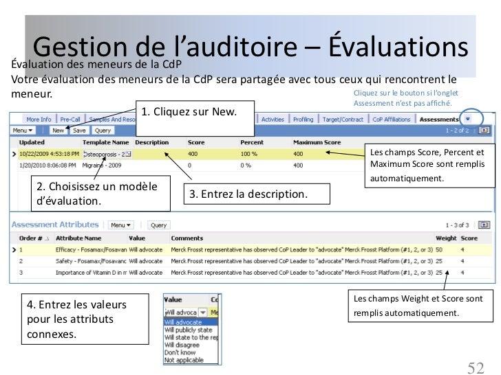 Gestion de la CdPÉvaluation des meneurs                       de l'auditoire – ÉvaluationsVotre évaluation des meneurs de ...