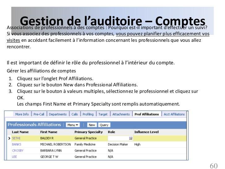 Gestion de l'auditoire – ComptesAssociations de professionnels à des comptes : Pourquoi est-il important d'effectuer un su...