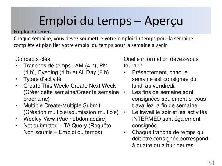 Emploi du temps – AperçuEmploi du tempsChaque semaine, vous devez soumettre votre emploi du temps pour la semainecomplète ...