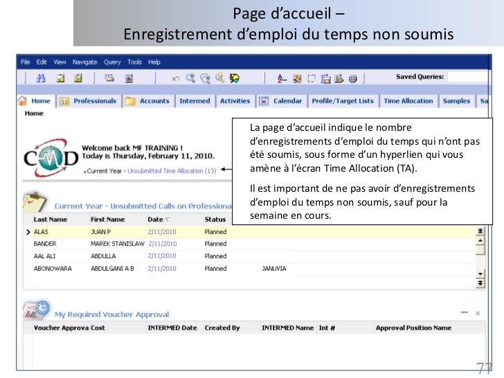 Page d'accueil –Enregistrement d'emploi du temps non soumis                La page d'accueil indique le nombre            ...