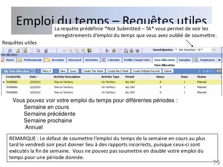 EmploiLadu temps –Submitted – TA* vous permet de voir les             requête prédéfinie *Not                             ...