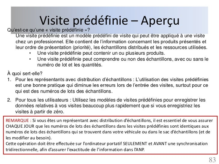 Visite prédéfinie – AperçuQu'est-ce qu'une « visite prédéfinie »?   Une visite prédéfinie est un modèle prédéfini de visit...