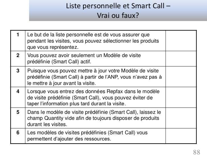 Liste personnelle et Smart Call –                               Vrai ou faux?1   Le but de la liste personnelle est de vou...