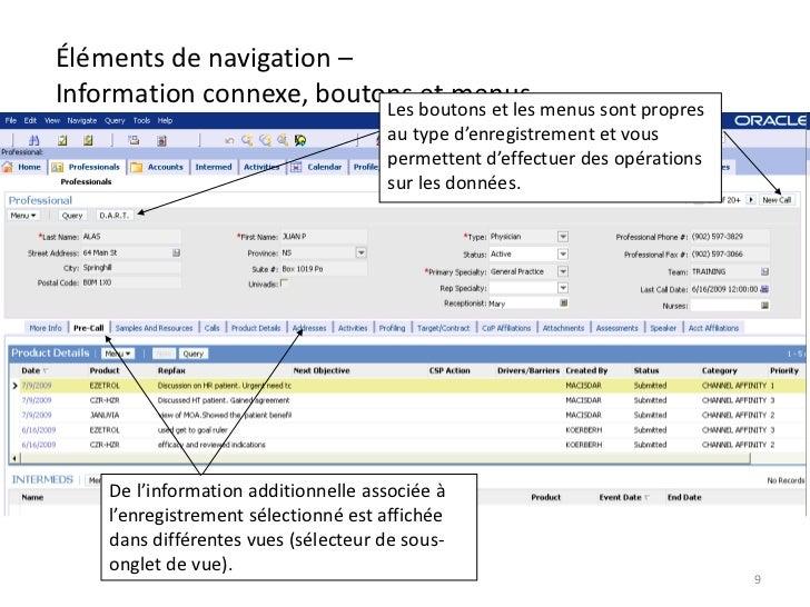 Éléments de navigation –Information connexe, boutons boutons et les menus sont propres                          Les       ...