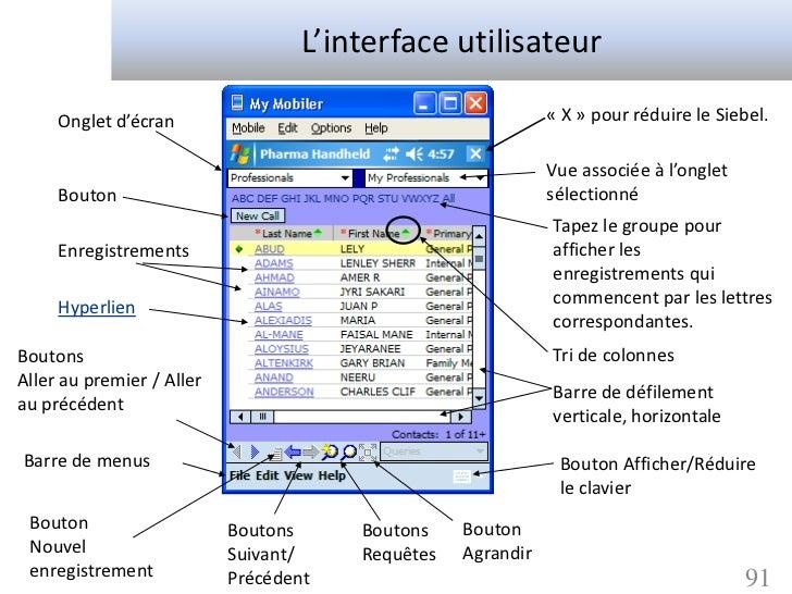 L'interface utilisateur     Onglet d'écran                                          « X » pour réduire le Siebel.         ...