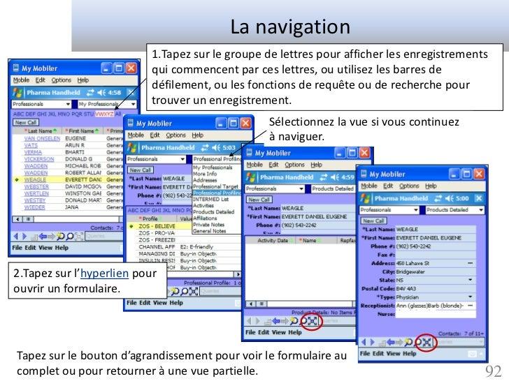 La navigation                           1.Tapez sur le groupe de lettres pour afficher les enregistrements                ...