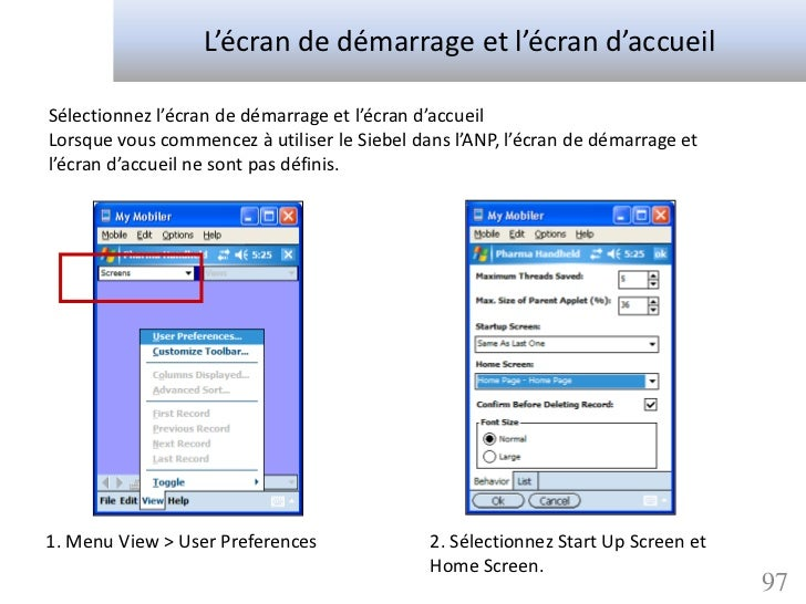 L'écran de démarrage et l'écran d'accueilSélectionnez l'écran de démarrage et l'écran d'accueilLorsque vous commencez à ut...