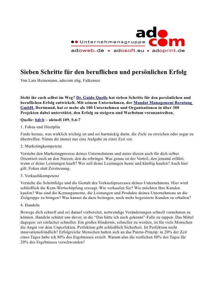 Sieben Schritte für den beruflichen und persönlichen Erfolg Von Lars Heinemann, adocom ohg, Falkensee   Steht ihr euch sel...