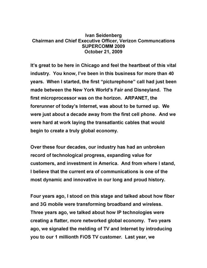 Ivan Seidenberg Chairman and Chief Executive Officer, Verizon Communcations                     SUPERCOMM 2009            ...