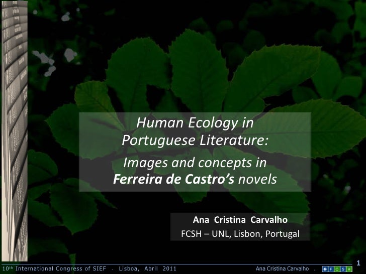 Human Ecology in                                           Portuguese Literature:                                        I...