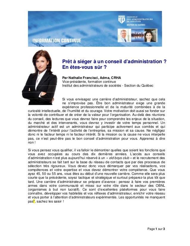 Page 1 sur 3 Prêt à siéger à un conseil d'administration ? En êtes-vous sûr ? Par Nathalie Francisci, Adma, CRHA Vice-prés...