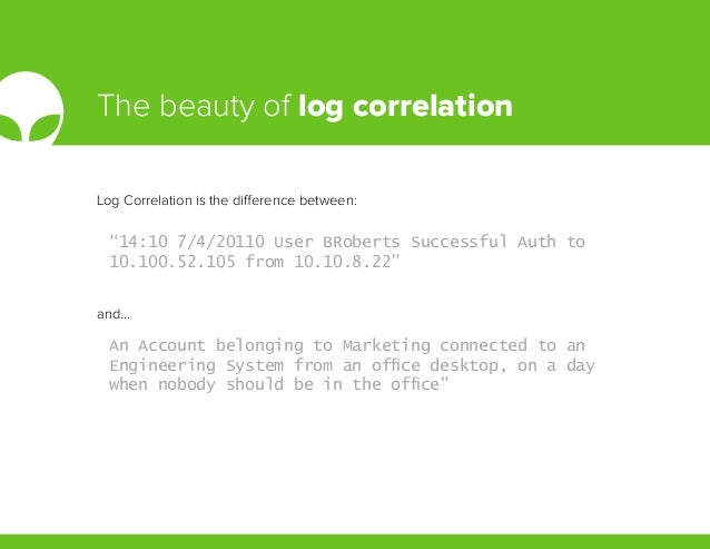 """The beauty of log correlation """"14:10 7/4/20110 User BRoberts Successful Auth to 10.100.52.105 from 10.10.8.22"""" An Account ..."""