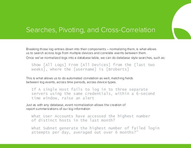 Breaking those log entries down into their components – normalizing them, is what allows us to search across logs from mul...