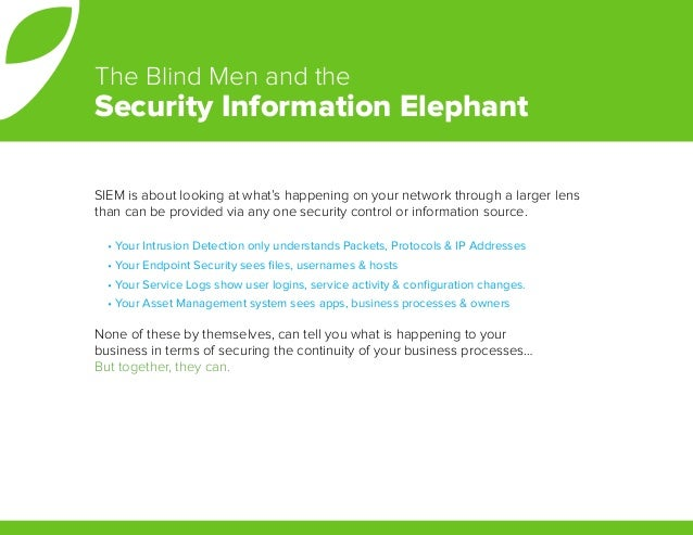 SIEM is about looking at what's happening on your network through a larger lens than can be provided via any one security ...
