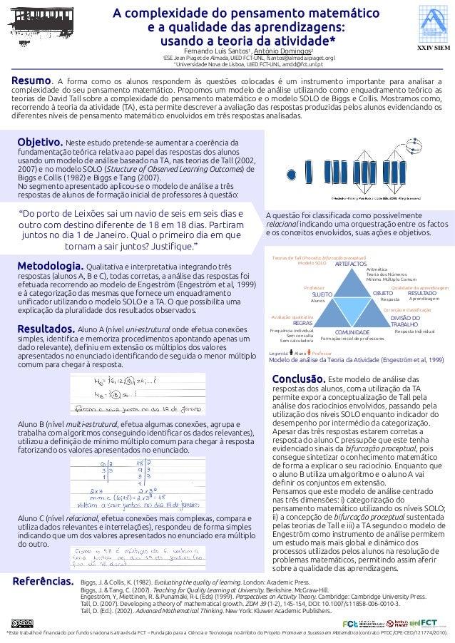A complexidade do pensamento matemático e a qualidade das aprendizagens: usando a teoria da atividade* Fernando Luís Santo...