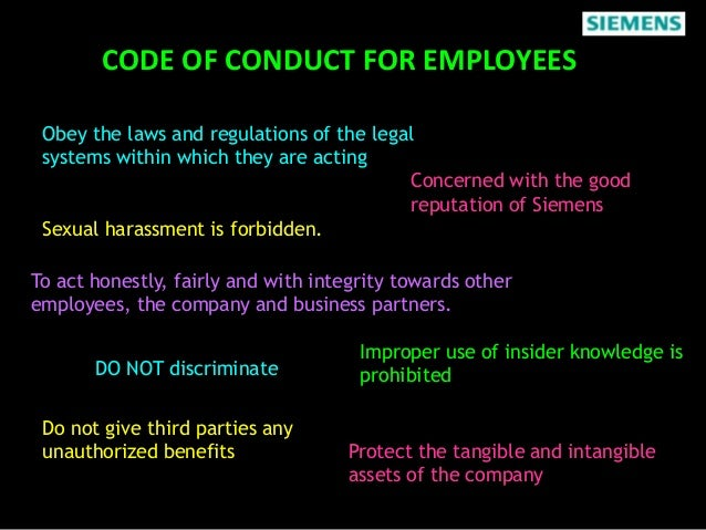 siemens violation of ethics Careful monitoring can identify problem areas as well as specific violations, and a zero  viewpoints ethics and compliance 2  bribery scandal at siemens that .