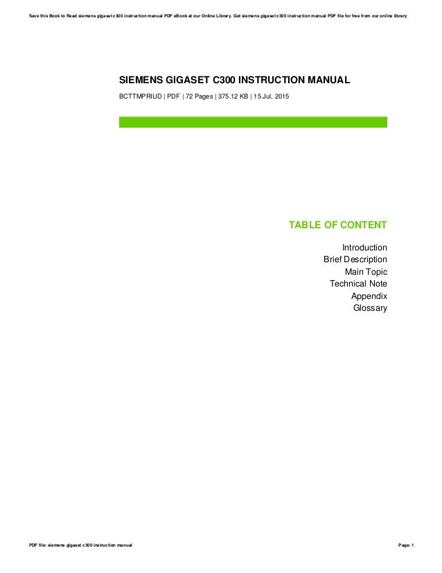 gigaset c300 instruction manual