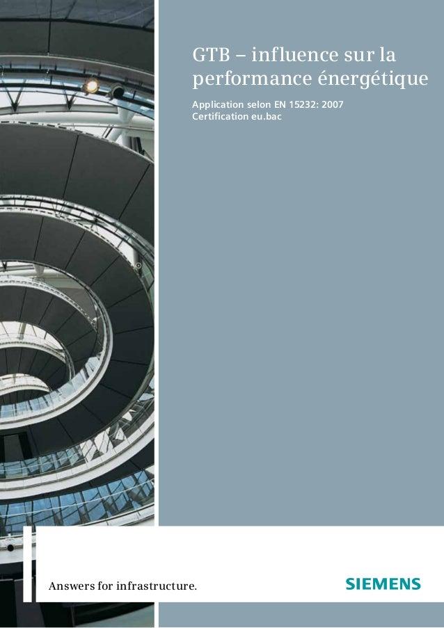 Answers for infrastructure. GTB – influence sur la performance énergétique Application selon EN 15232: 2007 Certification ...