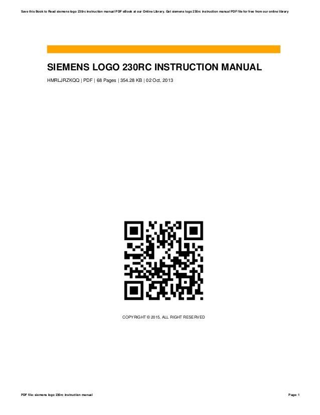 siemens logo 230rc instruction manual rh slideshare net siemens logo 230rc programming manual siemens logo 230 rc manual pdf