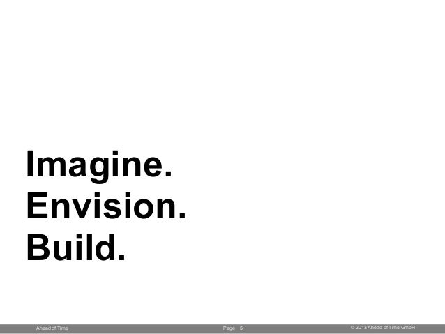 Page © 2013 Ahead of Time GmbHAhead of Time Imagine. Envision. Build. 5