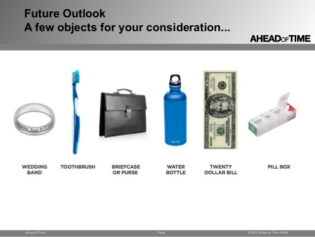 Page © 2013 Ahead of Time GmbHAhead of Time Future Outlook A few objects for your consideration...