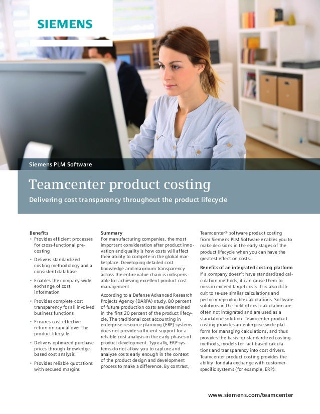 Teamcenter Product Cost Fact Sheet