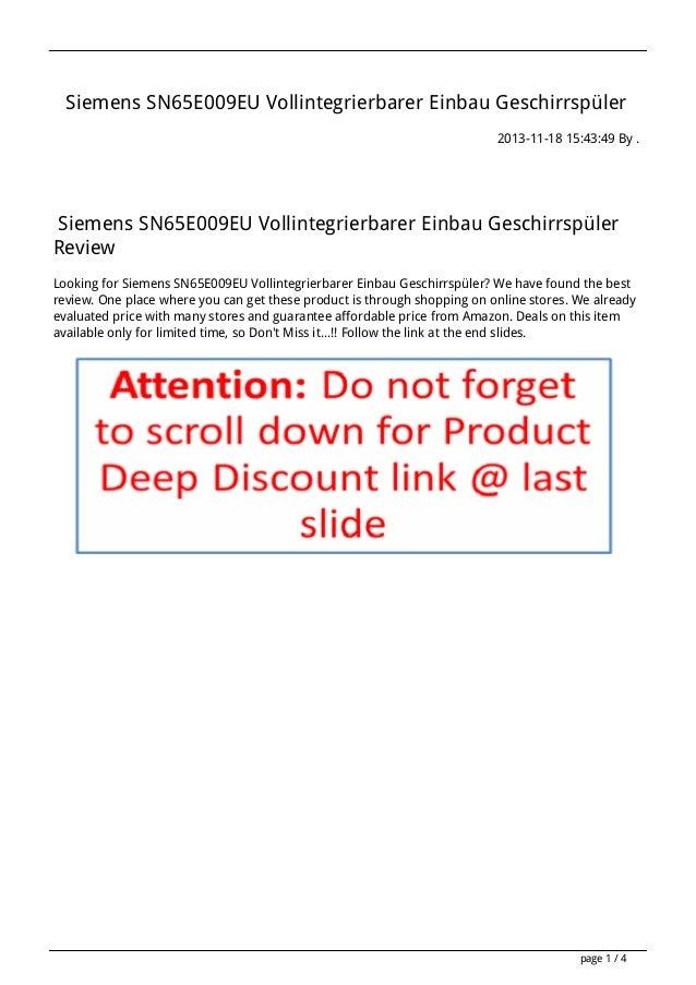 Siemens SN65E009EU Vollintegrierbarer Einbau Geschirrspüler 2013-11-18 15:43:49 By .  Siemens SN65E009EU Vollintegrierbare...