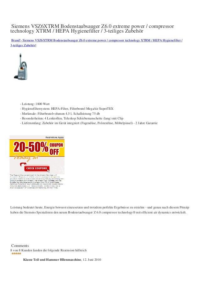 Siemens VSZ6XTRM Bodenstaubsauger Z6.0 extreme power / compressortechnology XTRM / HEPA Hygienefilter / 3-teiliges Zubehör...