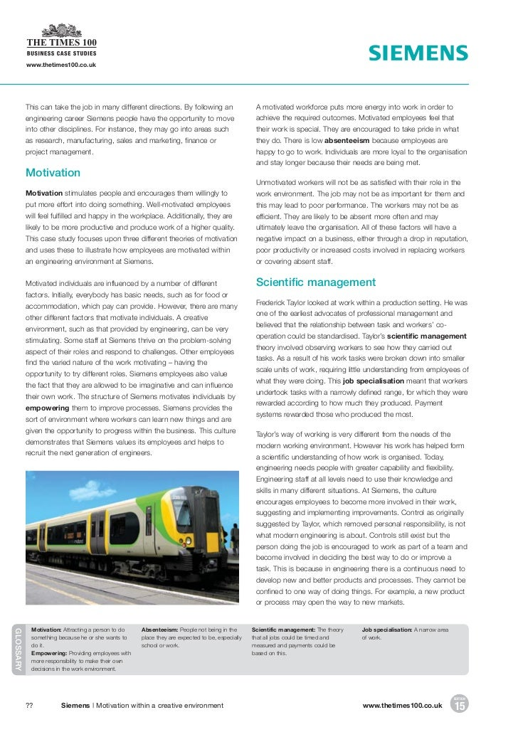 motivation within a creative environment a siemens case study