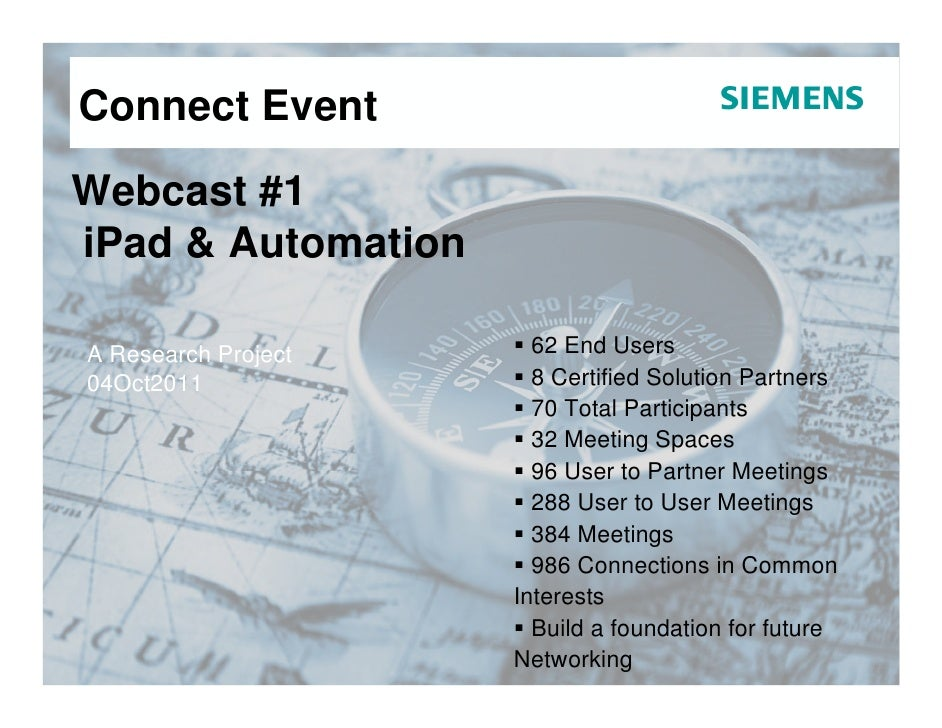 Connect EventWebcast #1iPad & AutomationA Research Project     62 End Users04Oct2011              8 Certified Solution Par...