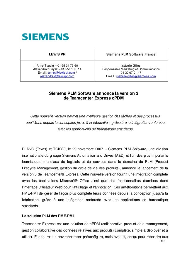 1/ 5 LEWIS PR Siemens PLM Software France Anne Taudin – 01 55 31 75 60 Alexandra Kunysz – 01 55 31 98 14 Email : annet@lew...