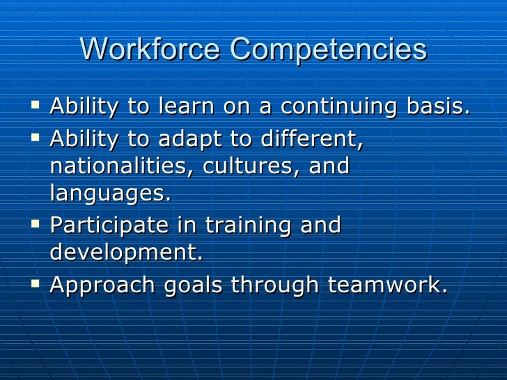 siemens and workforce competencies There are also four required competencies and behaviors when producing high tech products,  lastly, a diversified workforce there are four strategically relevant hr system policies siemens has to provide continuing education challenging employees with more challenging responsibilites through teamwork.