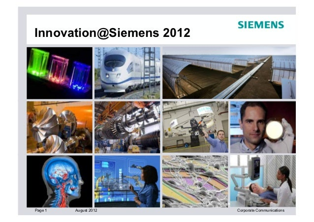 Innovation@Siemens 2012                          Copyright © Siemens AG 2012. All rights reserved.Page 1   August 2012    ...