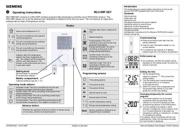 siemens room stat instructions rh slideshare net siemens instruction manuals fridge freezers siemens logo instruction manual