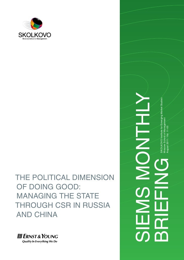 AnD chinA  of Doing gooD:  mAnAging the StAte  through cSr in ruSSiA  the PoliticAl DimenSionSiemS monthly                ...
