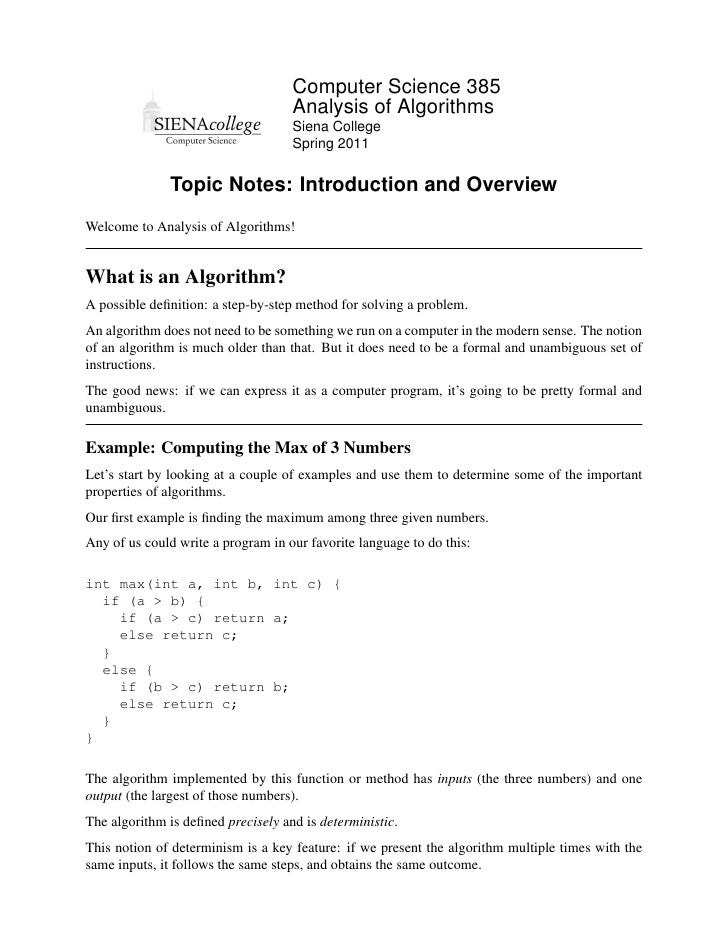 Computer Science 385                                    Analysis of Algorithms                                    Siena Co...