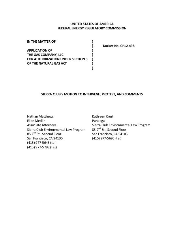 UNITED STATES OF AMERICA                   FEDERAL ENERGY REGULATORY COMMISSIONIN THE MATTER OF                        )  ...