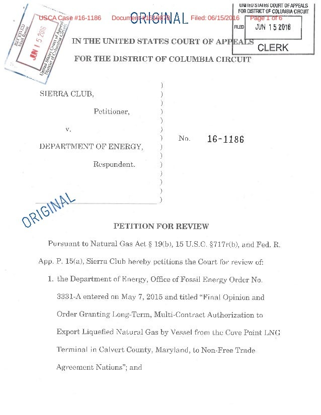 Sierra Club Petition to Force Dept. of Energy to Review