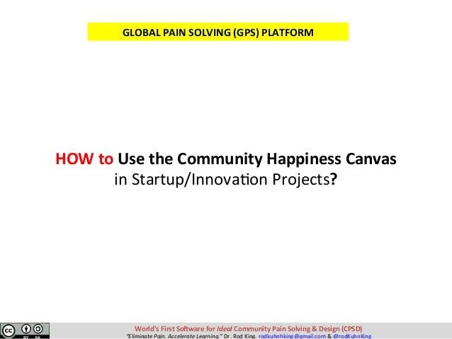 HOWtoUsetheCommunityHappinessCanvas inStartup/InnovaKonProjects? World'sFirstSo-wareforIdealCommunityPain...