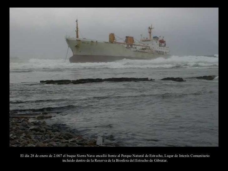 El día 28 de enero de 2.007 el buque Sierra Nava encalló frente al Parque Natural de Estrecho, Lugar de Interés Comunitari...