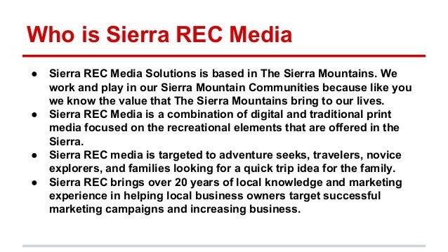 Who is Sierra REC Media ● Sierra REC Media Solutions is based in The Sierra Mountains. We work and play in our Sierra Moun...