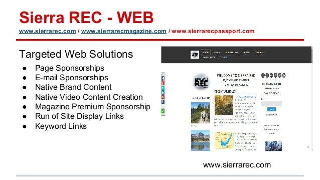 Sierra REC - WEB www.sierrarec.com / www.sierrarecmagazine.com / www.sierrarecpassport.com Targeted Web Solutions ● Page S...