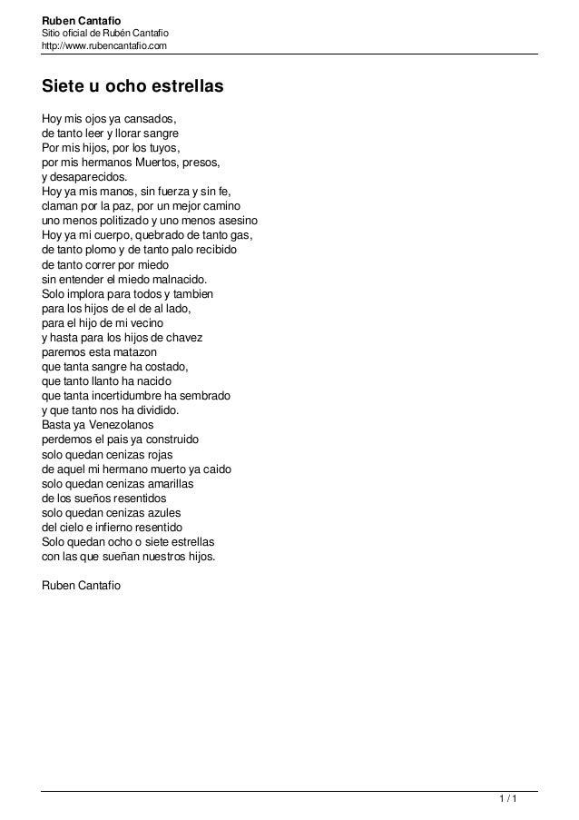 Ruben Cantafio Sitio oficial de Rubén Cantafio http://www.rubencantafio.com Siete u ocho estrellas Hoy mis ojos ya cansado...