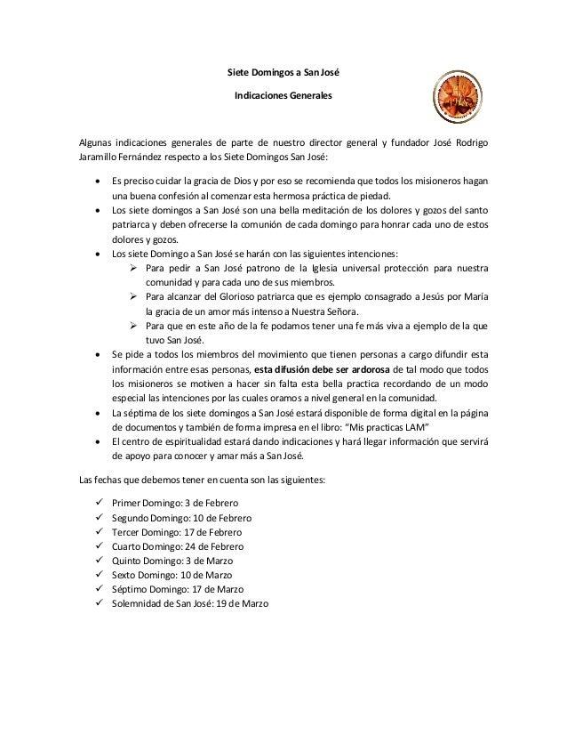 Siete Domingos a San José                                    Indicaciones GeneralesAlgunas indicaciones generales de parte...