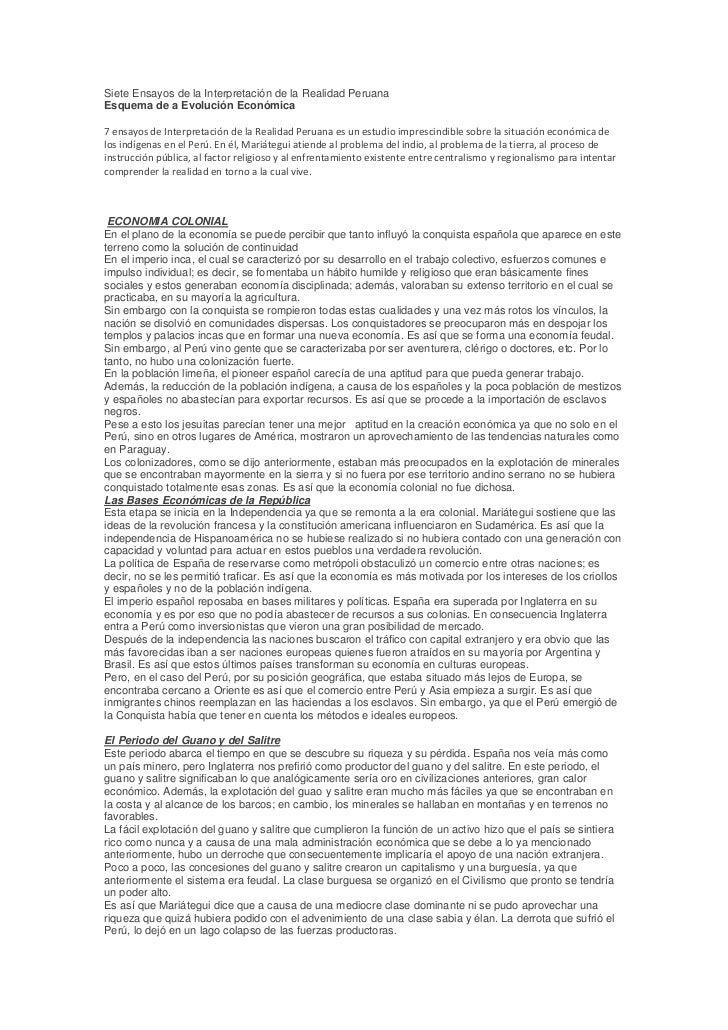 Siete Ensayos de la Interpretación de la Realidad PeruanaEsquema de a Evolución Económica7 ensayos de Interpretación de la...
