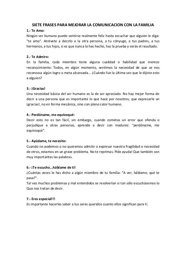 Siete Frases Para Mejorar La Comunicacion Con La Familia